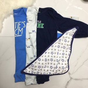 🎉Bundle baby boy long sleeve bodysuits bib C3